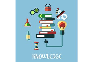 Knowledge and web education flat des