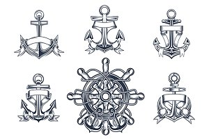 Vintage marine and nautical icons