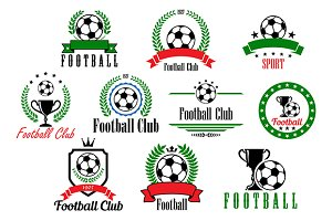 Set of football club badges and embl
