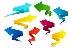 Set of colorful folded origami arrow