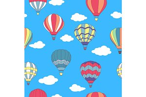Seamless pattern of flying hot air b