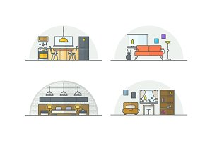 Interior design. Line illustrations.