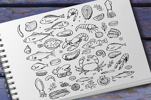Hand drawn Seafood Set and Menus