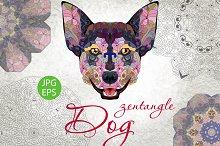 Zentangle dog head