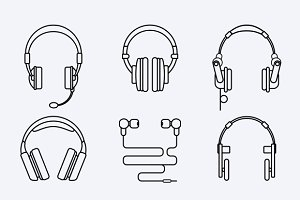Vector line headphones icon set