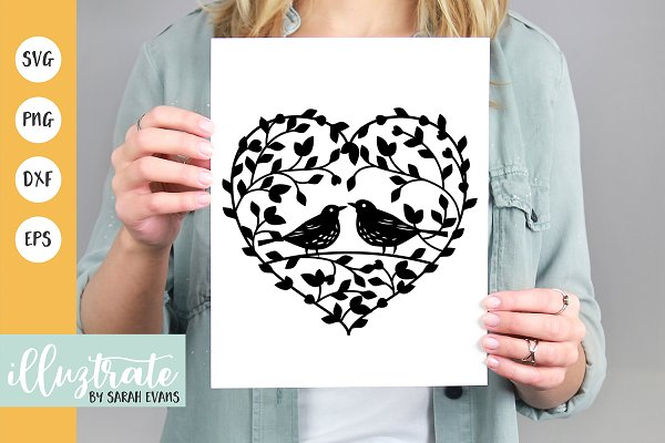 Love Birds Heart Svg Cut File Pre Designed Illustrator Graphics Creative Market
