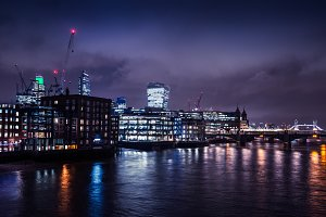 River Thames in London by night