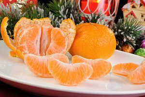 Tangerines on the Christmas table