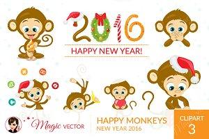 Monkeys clipart, Xmas, New Year