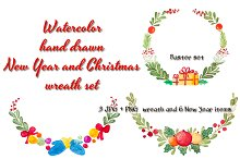 Christmas and New Year wreath set