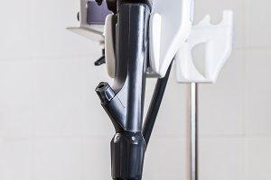 The endoscope on a tripod.