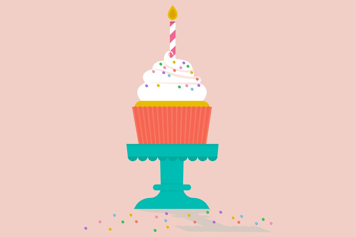 Terrific Vector Birthday Cake And Cupcake Custom Designed Illustrations Funny Birthday Cards Online Elaedamsfinfo
