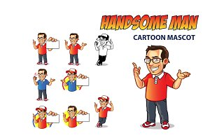 Handsome Man Cartoon Mascot