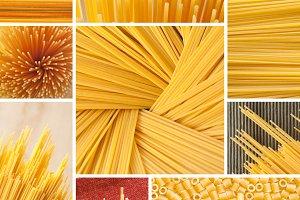 Pasta texture collage