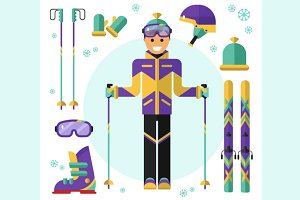 Skier & Skiing Equipment Vector
