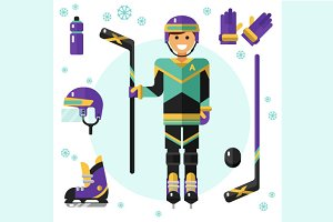 Hockey Player & Equipment Icons