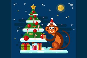 Monkey Decorate XMas Tree