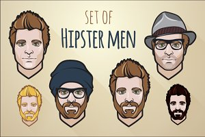 Set of hipster men