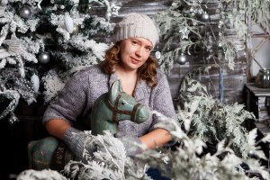 Girls in Christmas decoration
