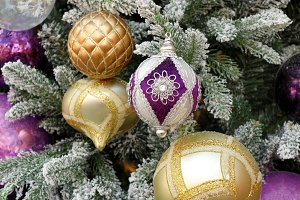 Colorful Christmas ornaments in Tree