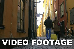 Touristic walk in Old Town Stockholm