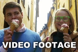 Eating ice-cream during touristic