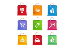 Shopping Icon Set on Shopping Bag