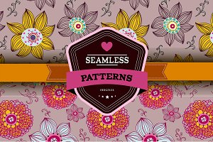 Set of 2 romantic seamless patterns
