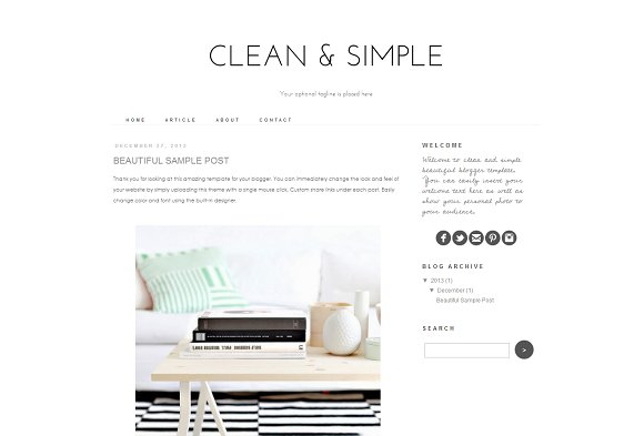 blogger template clean and simple themes creative market