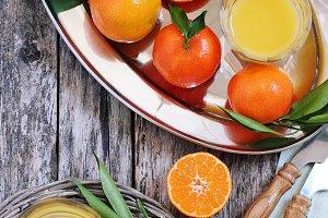 Tangerines and fresh Juice