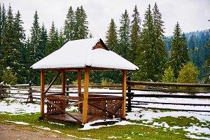 Snow pavilion alcove winter foresא