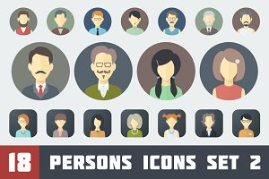 Flat Persons Icons Set 2