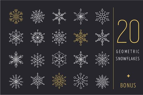 20 geometric snowflakes icons set
