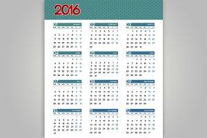 2016 Calendar set. Vector.