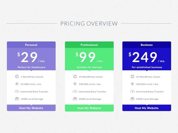 flat pricing table template presentation templates creative market