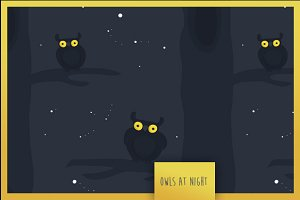 Seamless pattern 'Owls at night'