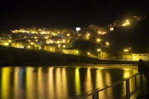 Night at town and sea