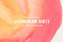 40 Hand-Painted Watercolor Spots