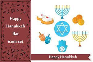 Hanukkah Flat icons set and patterns