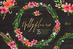 Hollyflowers. Holiday floral set