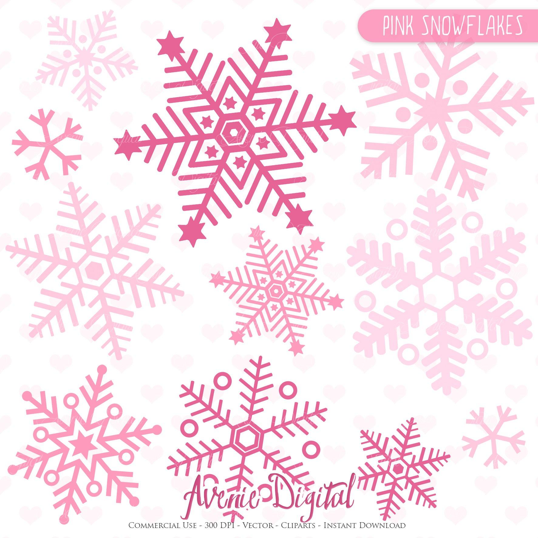 pink snowflakes clip art and vectors illustrations