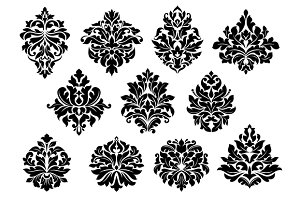 Set of floral and foliate floral mot