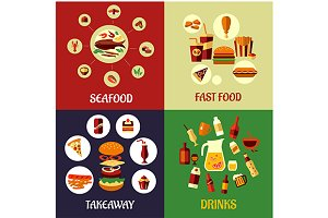 Seafood, fast food and drinks flat i