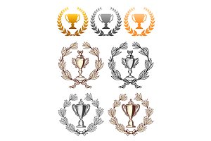 Cup trophies with laurel wreath