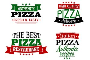 Pizza labels and banners set