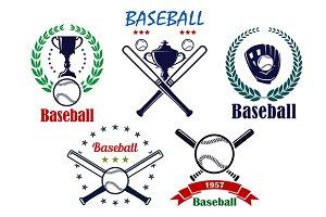 Baseball sporting emblems and symbol