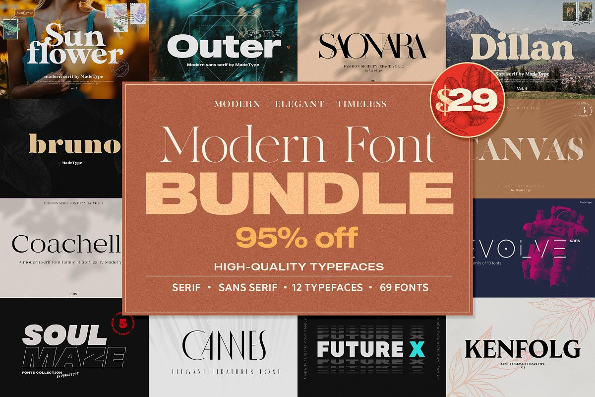 Modern Font Bundle | 95% Off in Display Fonts - product preview 8