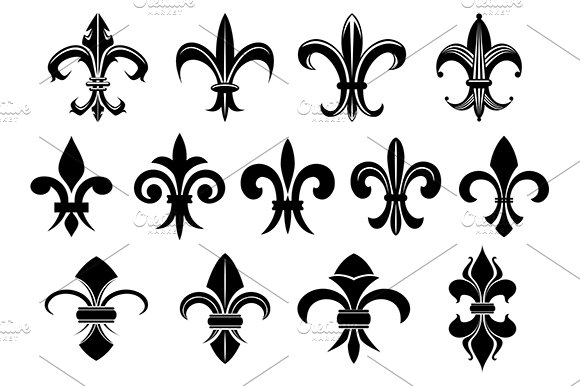 Black Royal Fleur De Lis Flowers Set Graphics Creative Market