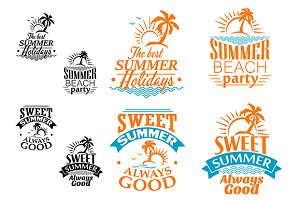 Summer vacation labels and banners