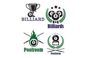 Billiards or poolroom emblems